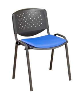 F3 Stacking Vinyl Chair With Black Frame - Fabric Seat Pad & Perforated Back