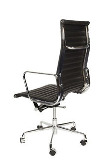 Charles Eames Style High Back Ribbed Executive Chair - Rear View