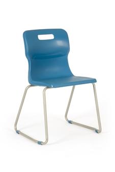 Titan Skid Frame Polypropylene Chair - Blue