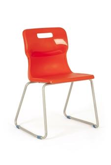 Titan Skid Frame Polypropylene Chair - Red