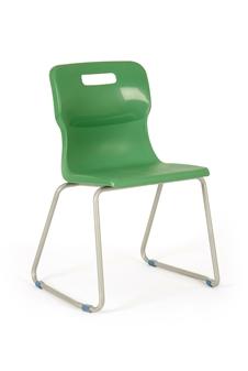 Titan Skid Frame Polypropylene Chair - Green