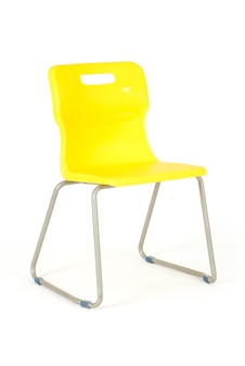 Titan Skid Frame Polypropylene Chair - Yellow