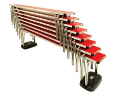 Stacked Contour Benches - Signal Red Laminate With Bench Skate Set