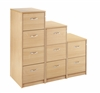2, 3 & 4-Drawer Wooden Filing Cabinets - Silver Handles