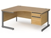 Contract C-Frame Radial Desks With Fixed Drawers