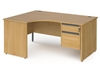 Contract Panel End Radial Desks With Fixed Drawers