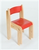 Set Of 2 Red / Natural Wood Stacking Classroom Chairs